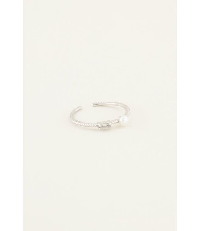 Ring strass & parel - silver