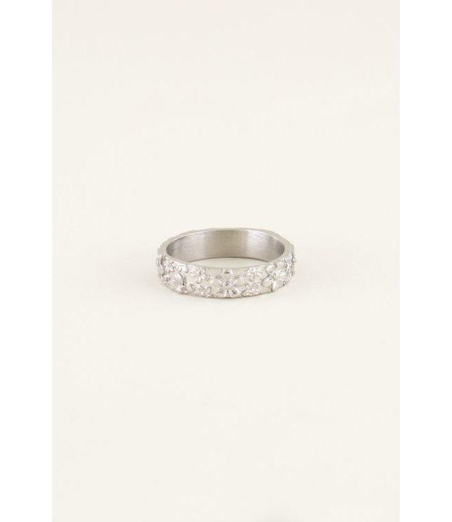 Brede ring bloemetjes - silver