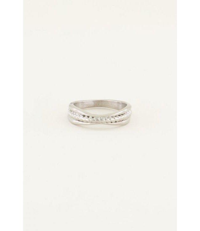 Ring gedraaide bang - silver