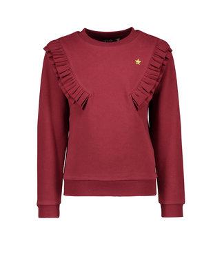 FLO Sweater rib ruffle F009-5303 bordeaux