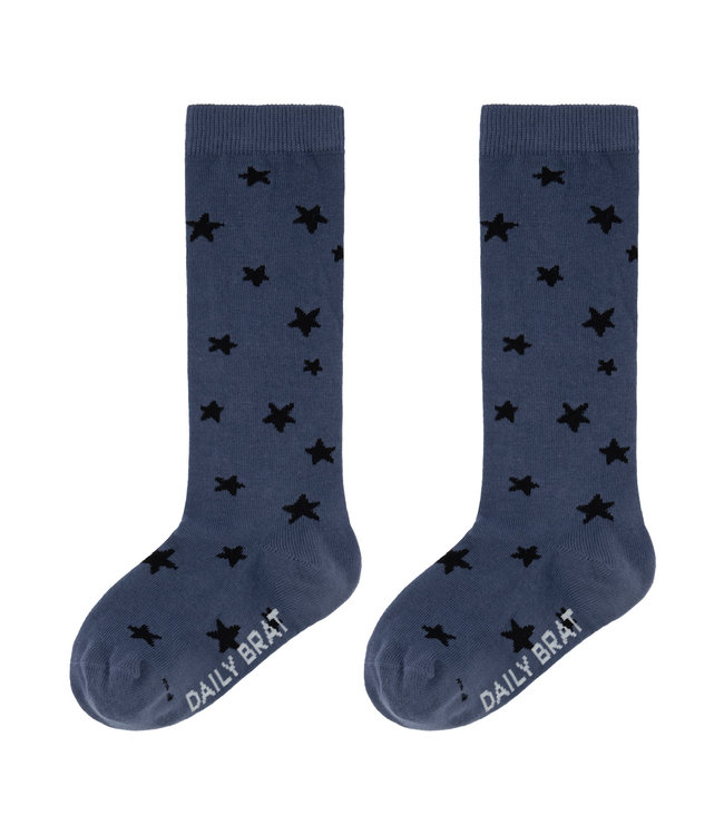 Stars knee socks - leave blue