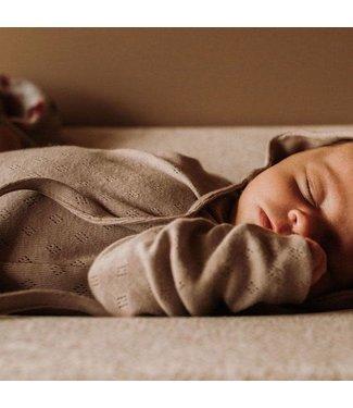 YUMI BABY Bodysuit Pointelle Cotton Taupe