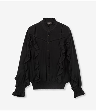 ALIX Blouse with tapes and ruffles -  black