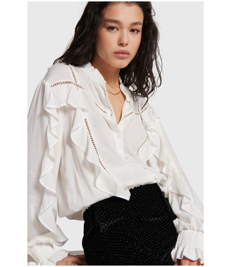 ALIX Blouse with tapes and ruffles -  soft white