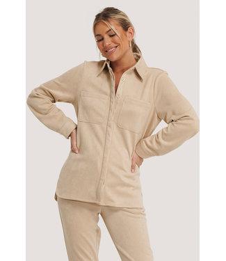 NA-KD Faux suede shirt 005358 - beige