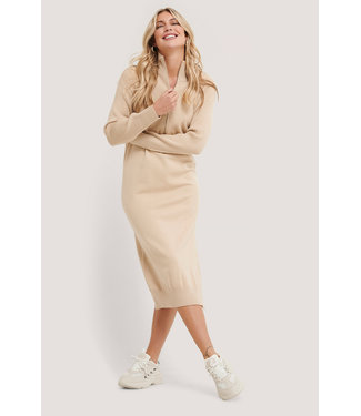 NA-KD Side slit knit dress 002853 - beige