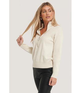 NA-KD Zip knit 002864 - white