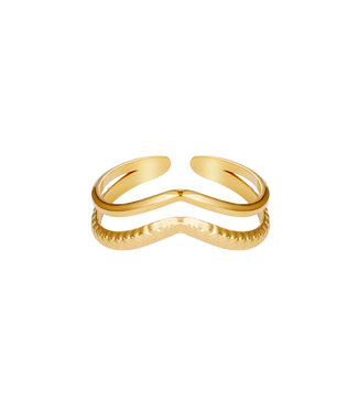Ring Double Wave - goud