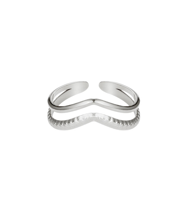 Ring Double Wave - zilver