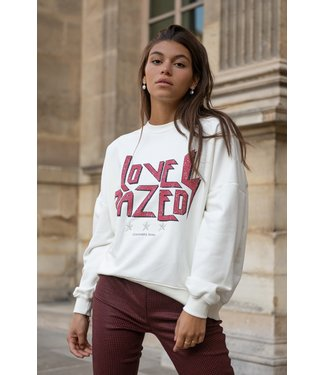 Colourful Rebel 9287 - Love Dazed Dropped Shoulder Sweater Off White