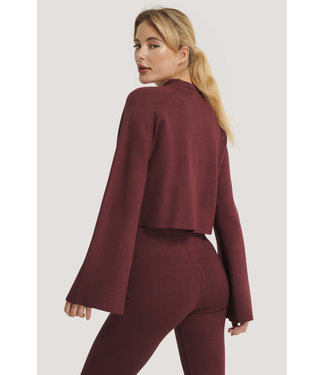 NA-KD Cropped lounge sweater 005407 - burgundy