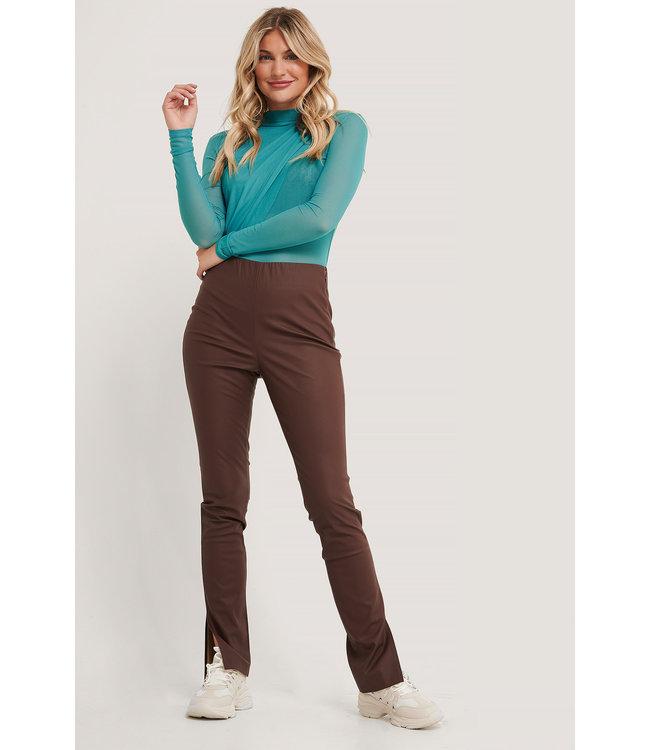 Pu side slit leggings 000098 - brown