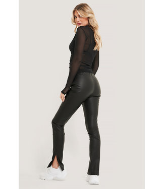 NA-KD Pu side slit leggings 000098 - black