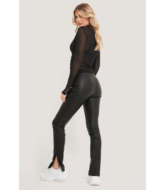 Pu side slit leggings 000098 - black
