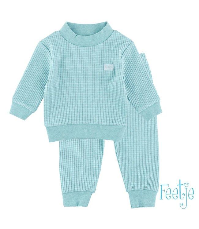 Wafel pyjama 305.533   groen melange
