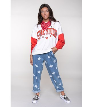 Colourful Rebel Star Sweat offwhite red  10037