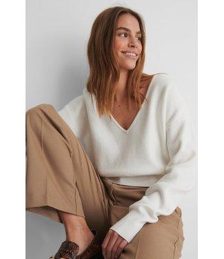 NA-KD V-neck Knitted Sweater 003717 - White
