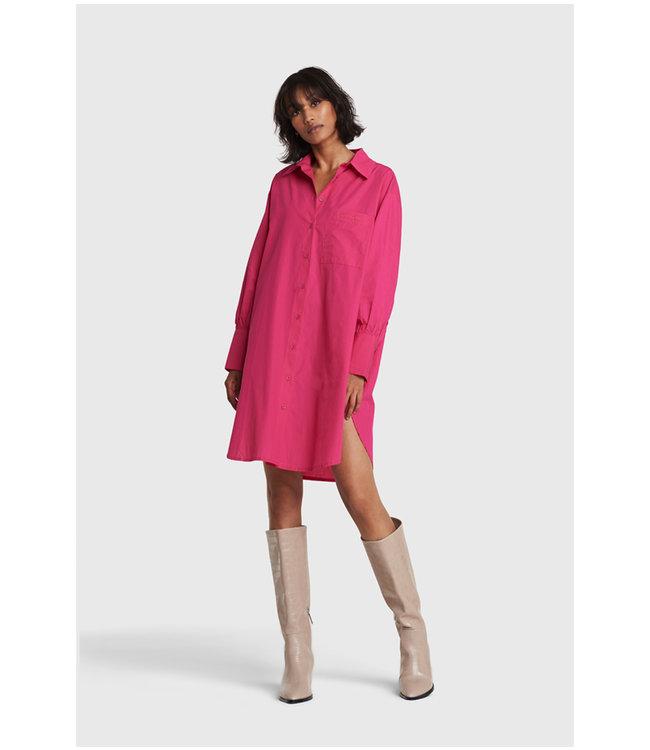 Oversized long blouse - shocking pink