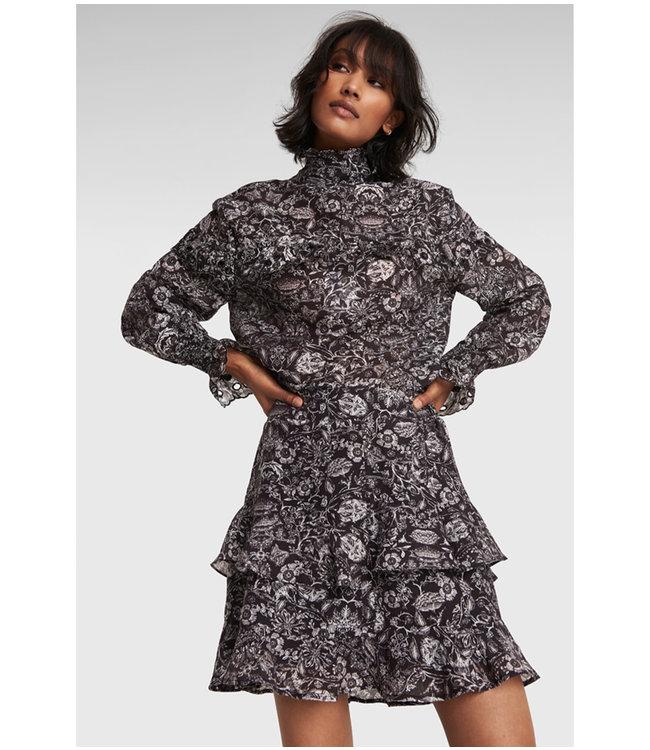 Flower linen skirt - black