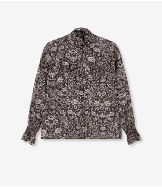 ALIX Flower linen blouse - black