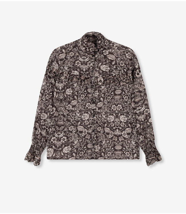 Flower linen blouse - black