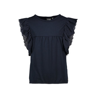 FLO Broidery ruffle top 102-5430 - navy