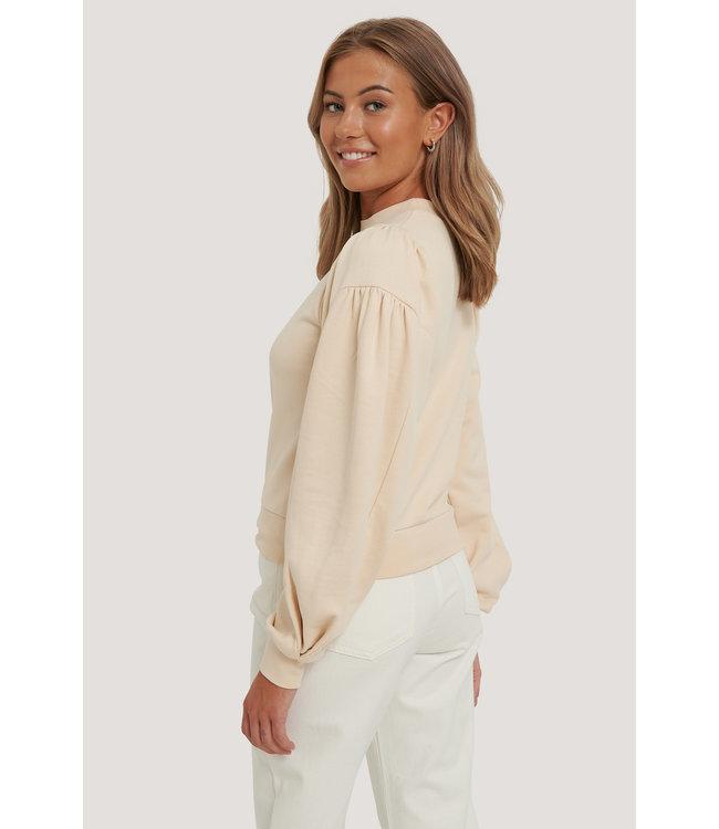 Puff Sleeve Sweatshirt 000242 - Beige