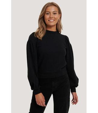 NA-KD Puff Sleeve Sweatshirt 000242 - Black