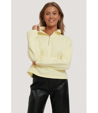 NA-KD Half Zip Up Sweater 000245 - Yellow