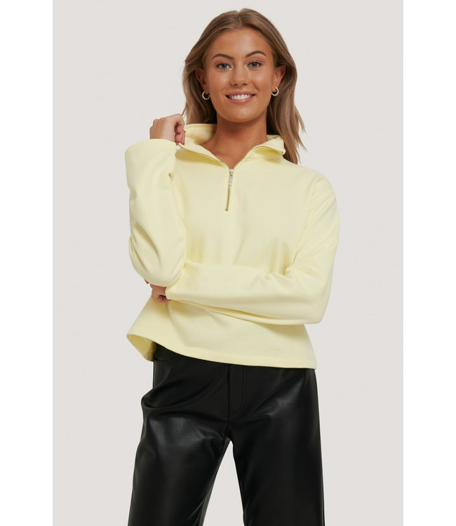 Half Zip Up Sweater 000245 - Yellow
