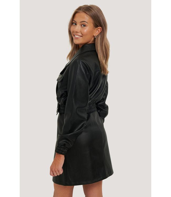 Belted Cropped PU Jacket 006305 - black