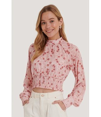 NA-KD Smocked Waist Blouse 006272 - Rose Print