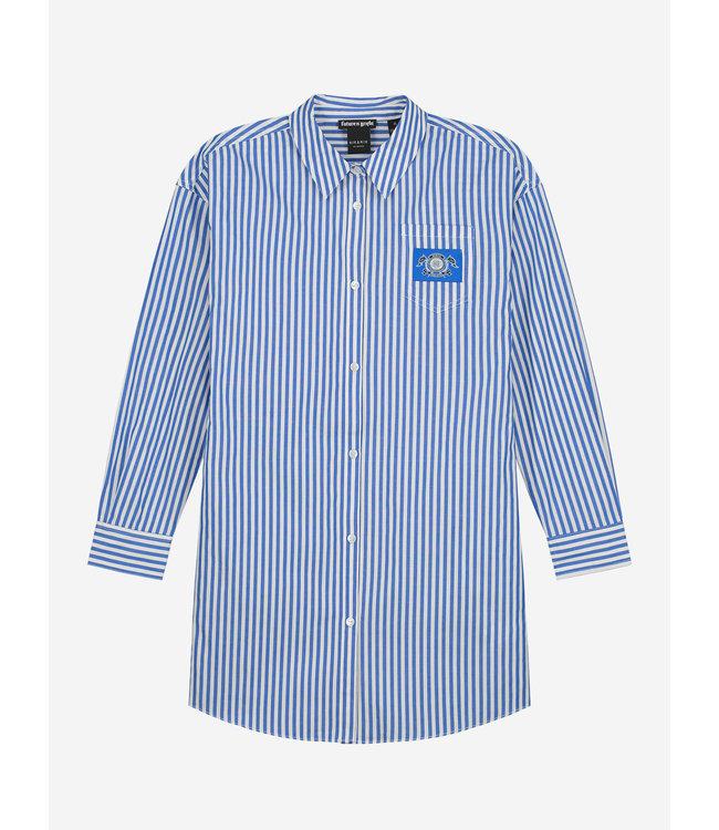 Olena Shirt Dress 5-497 - Off White/Royal Blue