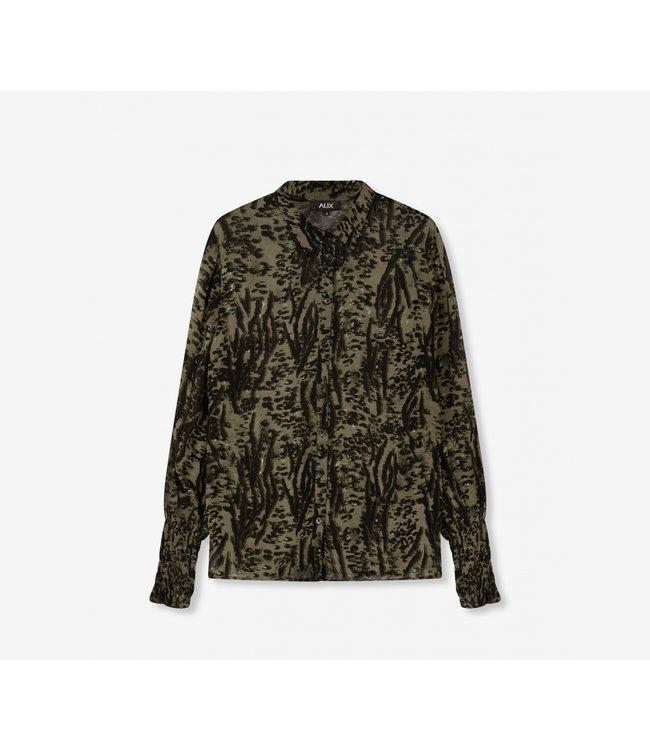Animal blouse - dark olive