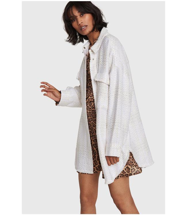 Oversized shiny boucle jacket - creamy white
