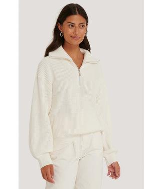 NA-KD Half Zip Up Sweater 006328 - white