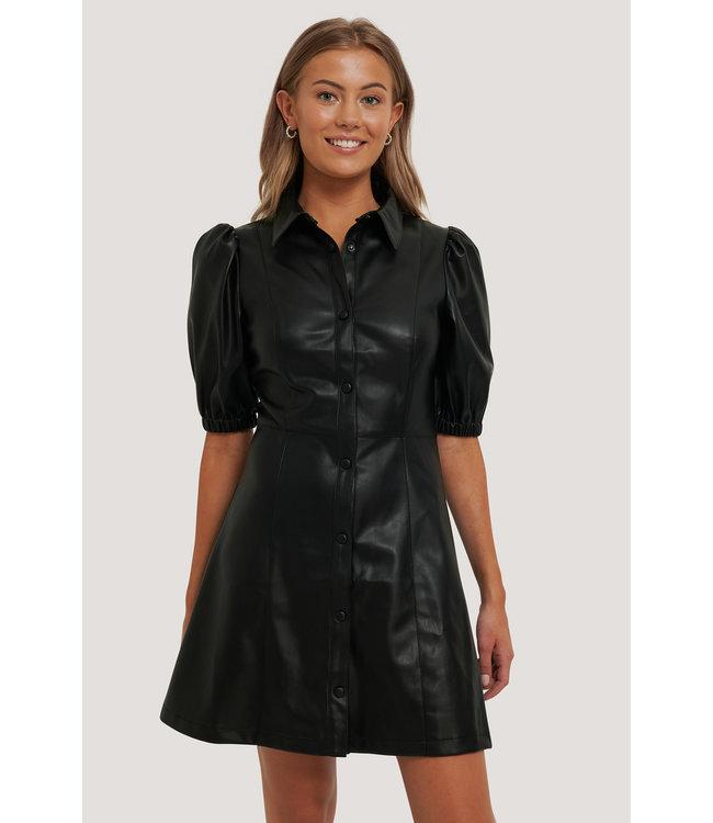 Puff sleeve shirt pu dress 006303