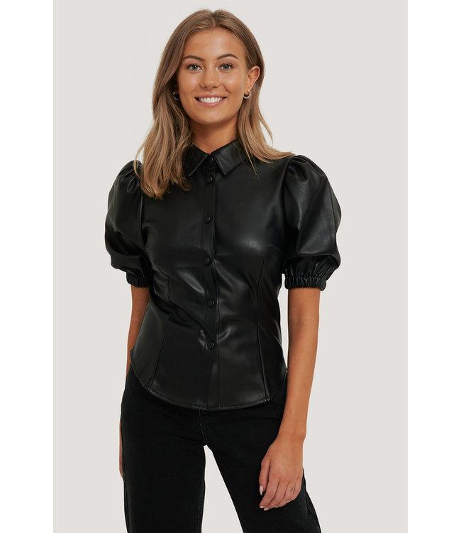 Short puff sleeve pu blouse 006265