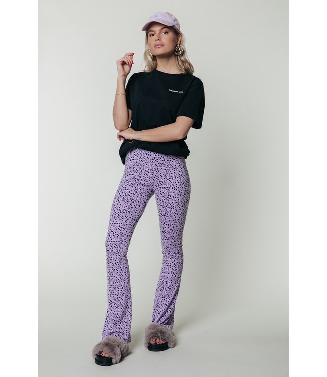 10183 - Leopard Basic Flare Pants Lilac
