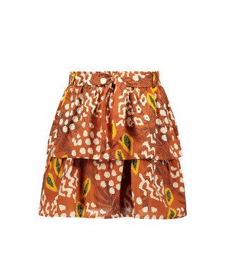 FLO Layer skirt with belt 103-5712 - cognac papaya