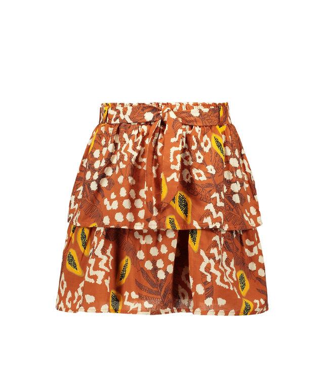 Layer skirt with belt 103-5712 - cognac papaya