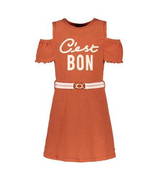 FLO Open shoulder dress 103-5871 - cognac
