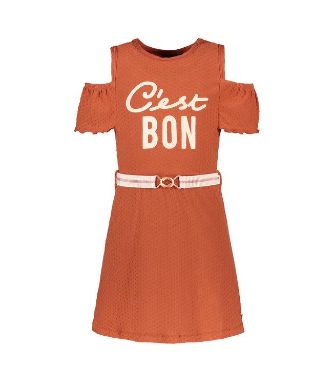 Open shoulder dress 103-5871 - cognac