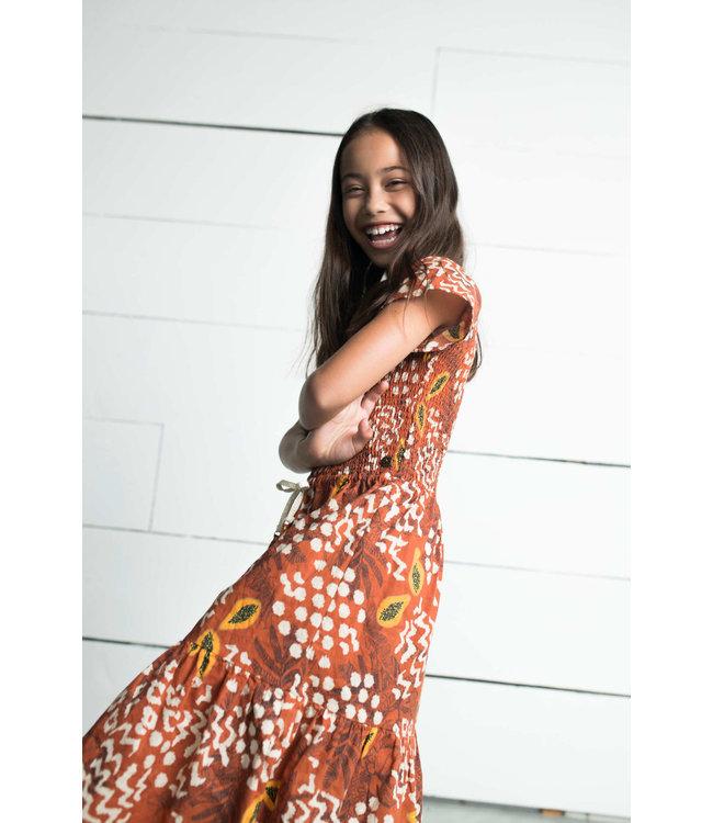 Smock maxi dress 103-5814 - cognac papaya
