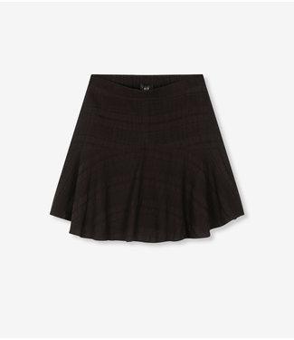 ALIX Seer sucker stripe skirt - black