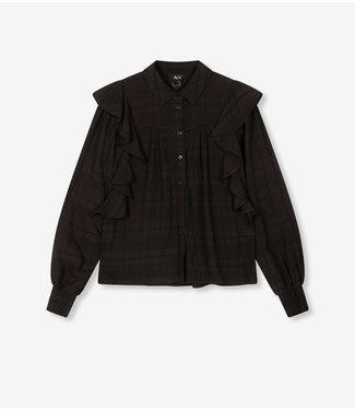ALIX Seer sucker stripe top - black