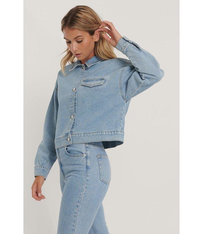 Cropped Denim Jacket 000538 - Light Blue