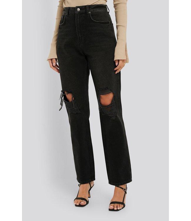 Distressed straight jeans 005065 - black
