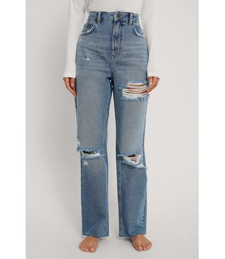 NA-KD Destroyed straight jeans 006823 - mid blue