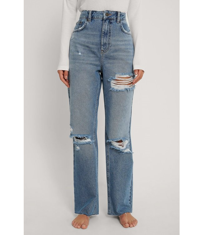 Destroyed straight jeans 006823 - mid blue